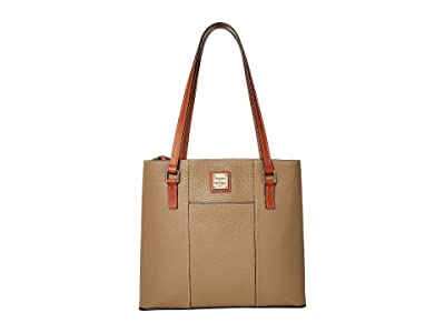 Dooney & Bourke Pebble Small Lexington Shopper (Light Taupe/Tan Trim) Tote Handbags