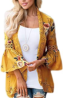 49a4db745e6 EIFFTER Women Boho Bell Sleeve Hollow Out Lace Floral Print Short Cardigan  Casual Fall Kimono