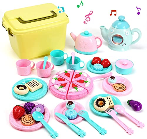 discount CUTE lowest STONE Toy Tea Set, Kids Pretend Play Tea Time with discount Play Food, Kettle with Light & Sound, Teapot, Tea Cups Dishes, Carrying Case and Tea Party Accessories Tea Party Set for Toddlers sale