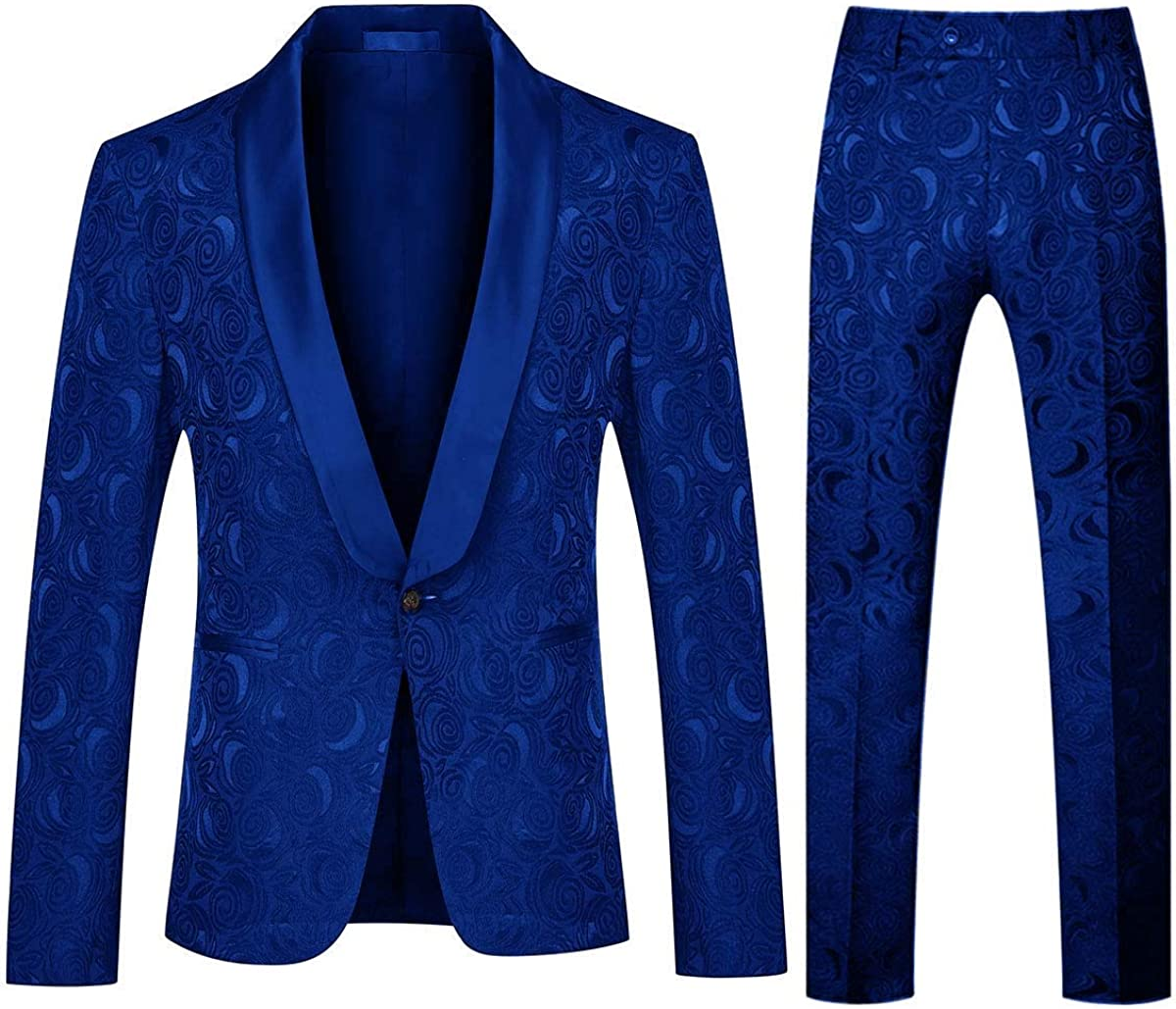 Frank Men's Tuxedo Suits Jacquard Shawl Lapel Floral Slim Fit Wedding Jacket Pants Party Formal Wear