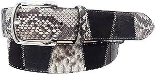ESPERANTO Cintura 4 cm in Coccodrillo, Pitone e pelle bovina, Dark Coffee-Unisex