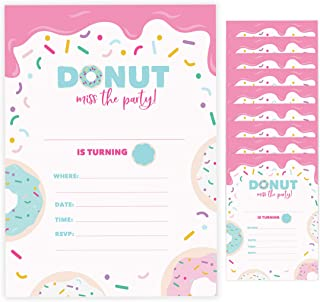 Donut Happy Birthday Invitations Invite Cards (10 Count) With Envelopes Boys Doughnut Girls Kids Party (10ct)