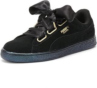 Suede Heart Satin Womens Sneakers Black