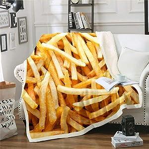 Erosebridal Nursery French Fries Fleece Blanket Fried Food Blanket Throw for Junk Food Lovers Golden Potato Chips Sherpa Blanket Fast Food Print Fuzzy Blanket Queen 90