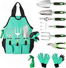 Aladom Garden Tools Set 10 Pieces, Gardening Kit with Heavy Duty Aluminum Hand Tool and Digging Claw Gardening Gloves for ...