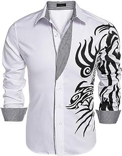 Men's Print Button Down Dress Shirt Fashion Long Sleeve Casual Shirts