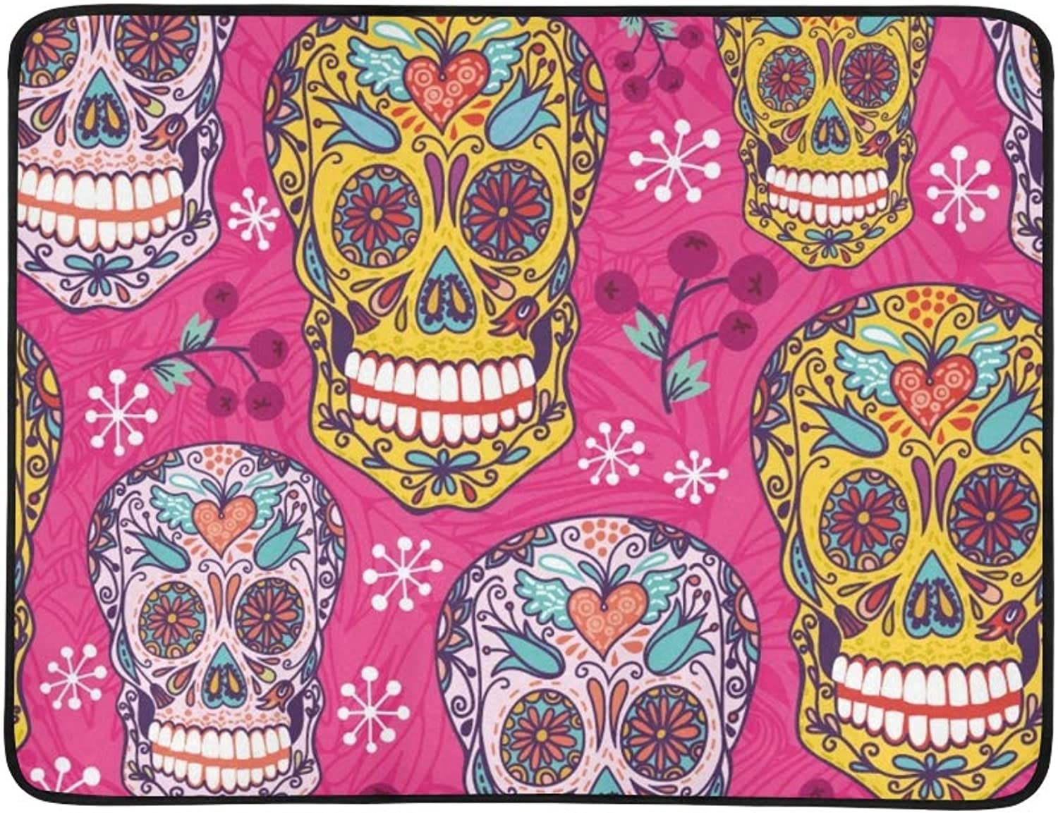 Pink Bright Mexican Sugar Skull Portable and Foldable Blanket Mat 60x78 Inch Handy Mat for Camping Picnic Beach Indoor Outdoor Travel