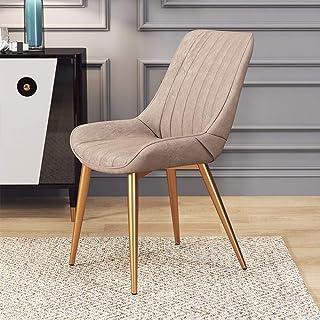 Lwieui Sillas De Cor Comer sillón de Cuero Silla de café nórdica Moderna Adecuado Home Hotel Restaurante Sillas de Comedor Cocina (Color : Khaki, Size : 53x40x81cm)