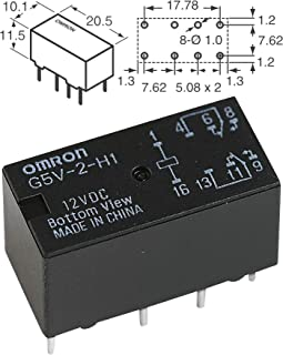 Signal Relay, DPDT, 9 VDC, 1 A, G5V-2 Series, Through Hole, Non Latching