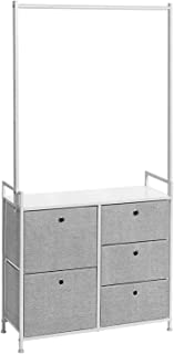 SONGMICS Wide Drawer Dresser with Clothes Rack, 5 Drawers, Chest of Drawers with Metal Frame, Wooden Top, Storage Tower Unit for Clothes, Toys, Closet, Hallway, White and Gray ULTS05W