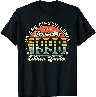 25 Ans Anniversaire Femme Homme Fabriqué en Novembre 1996 T-Shirt