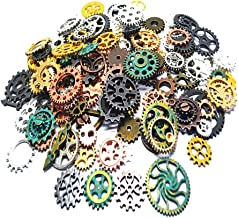 Czorange 100 Gram Mixed Color DIY Metal Steampunk Gears Charms Pendant Clock Watch Wheel Gear for Crafting Jewelry Making ...
