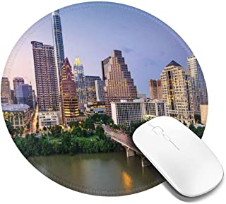 Round Mouse Pad,Austin Texas American City Bridge Over The Lake Skyscrapers USA Downtown Picture,Non-Slip Gaming Mouse Mat,1 PCS