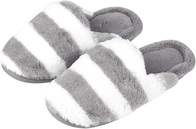 Beslip Women's Memory Foam House Slippers Winter Warm Soft Fleece Home Slipper