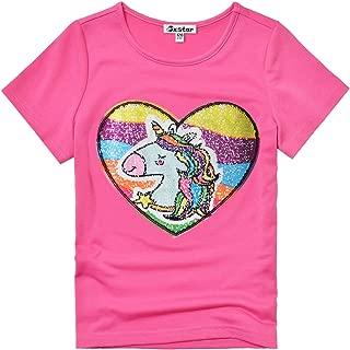 Flip Sequin T-Shirt for Girls Unicorn Tops Short Sleeve Summer Clothes for Kids