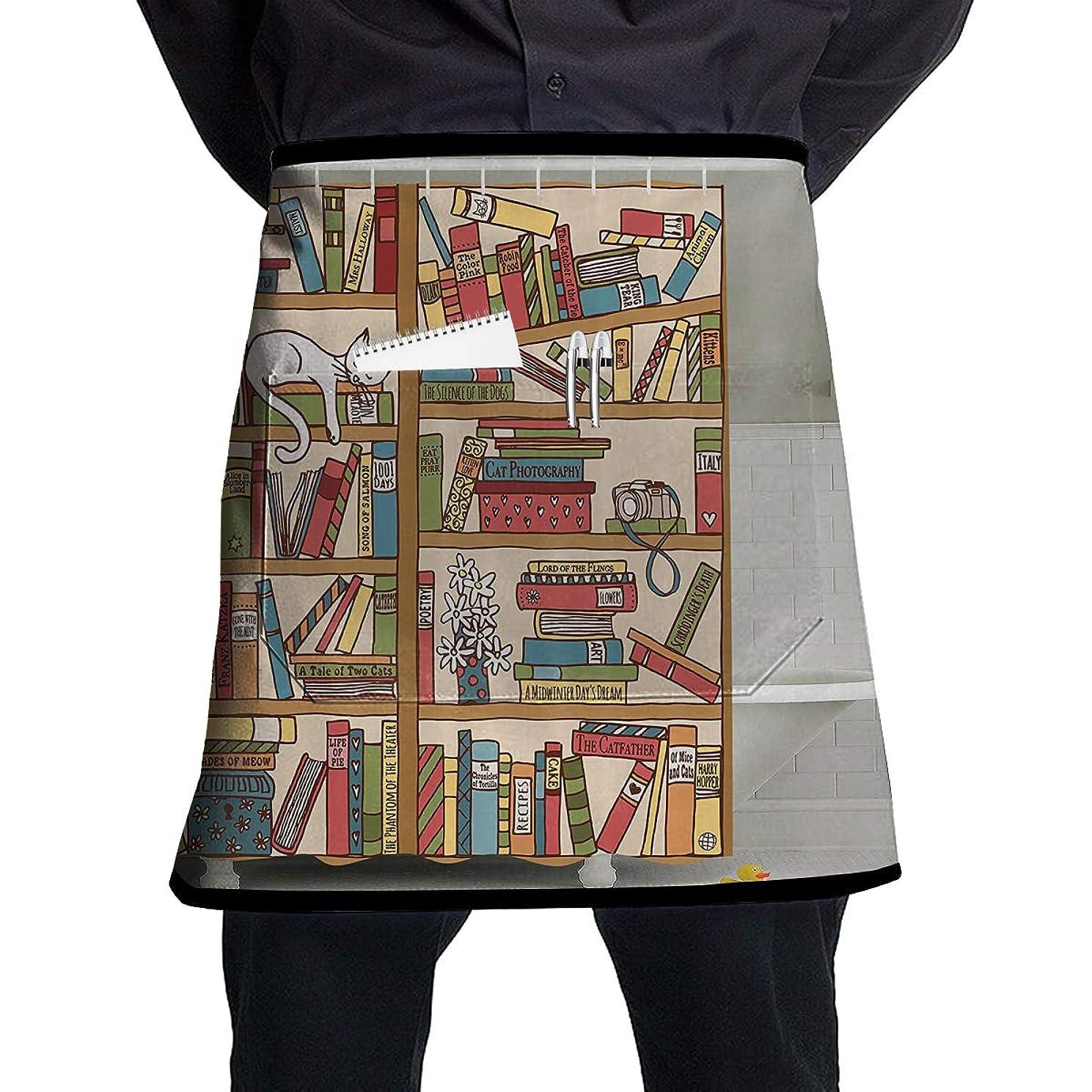 口述する文言慣性メンズエプロンNerd Book Lover Kitty Sleeping Over Bookshelf In Library Academics北欧 ハーフエプロン ハーフエプロン 丈短い 動きやすい 男女兼用 カッコいい お手入れ楽々 シンプルエプロン 男のエプロン 首掛け 無地