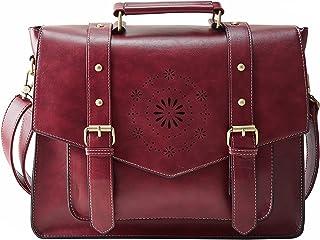 """ECOSUSI Umhängetasche Damen Vintage Laptoptasche 14.7"""" Schultertaschen Arbeitstasche Handtasche Rot"""