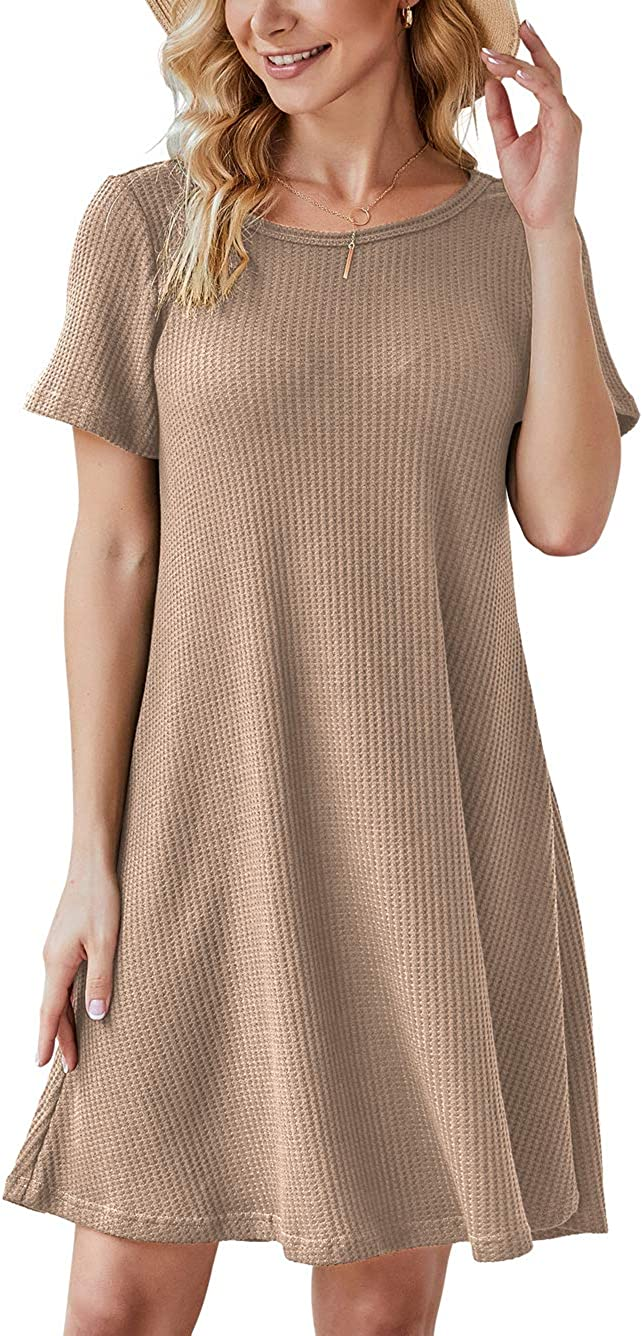 IWOLLENCE Women's Waffle Knit Summer Casual T Shirt Dresses Short Sleeve Beach Short Dress