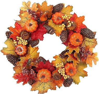 Hoomall 15 Inch Thanksgiving Wreath Floral Fall Door Wreath Artificial Flower Wreath for Front Door Festivals Door Hanging Ho