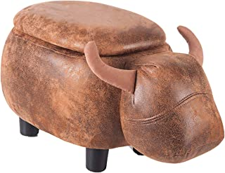 Merax Have-Fun Series Upholstered Ride-on Storage Ottoman Footrest Stool with Vivid Adorable Animal Shap (Brown, Buffalo)