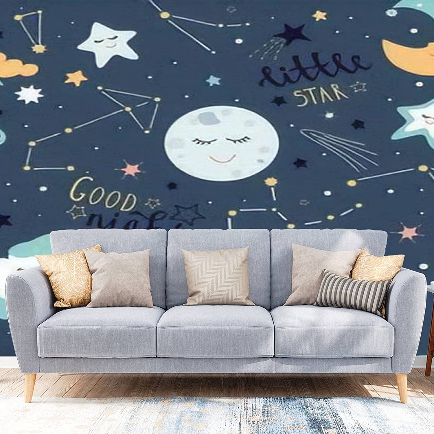 Wallpaper Peel and Recommendation Stick Kids Poster Max 56% OFF Space cluod Const Moon Star
