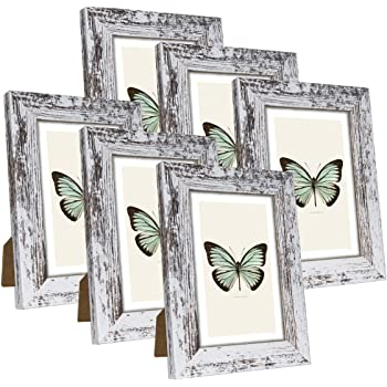 Q.Hou 4x6 Picture Frame Wood Pattern Distressed White Photo Frames Packs 4 with High Definition Glass for Tabletop or Wall Decor (QH-PF4X6-RW)