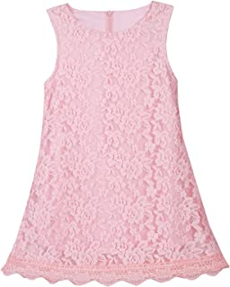 Girls Dress Kids Flower Lace Party Wedding Sleeveless Dresses for 1-16 Years
