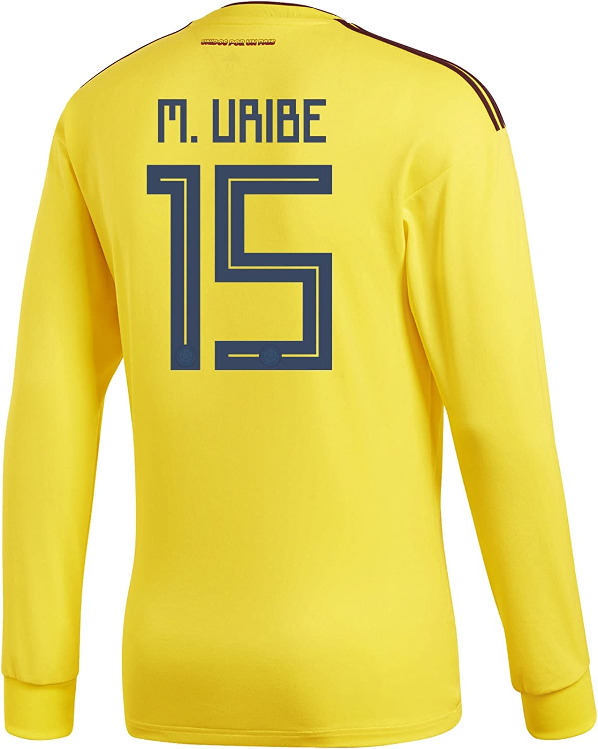 Adidas M. Uribe  15 Colombia Home Men's Long Sleeve Soccer Jersey World Cup 2018