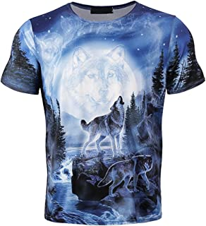 c64dd299 WYTong Cool Tee Shirt for Men Boy 3D Wolf Printed Summer Short Sleeve T- Shirts