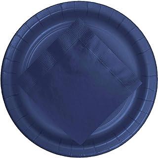 CUSINIUM 24 pcs Navy Blue Paper Plates with [50 pcs] Navy Party Napkins