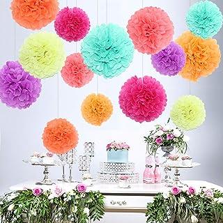 Tagesleuchtfarbe Pompoms Ball Party Hochzeit Himeland 14x Set farbige Seidenpapier Blumen Geburtstag Feier Dekoration