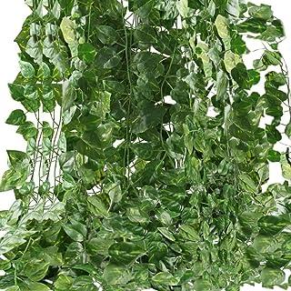 Artificial Ivy Leaf Plants Vine, 12 Strands 87 Feet Artificial Garlands Fake Foliage Flowers Hanging Vine for Home Kitchen...