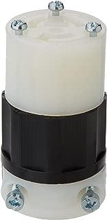 Leviton 4579-C 15 Amp, 250 Volt, NEMA L6-15R, 2P, 3W, Locking Connector, Industrial Grade, Grounding - Black-White