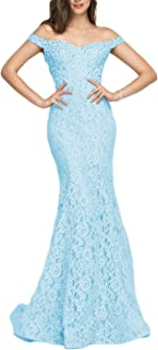 Women's Off Shoulder Long Lace Prom Dress Mermaid Beaded Evening Gown 418