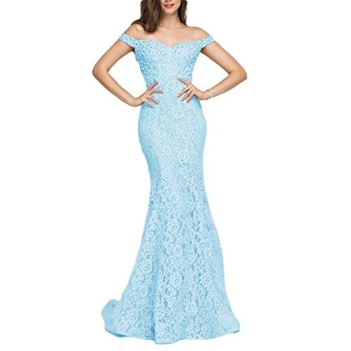 4bdc2ee290d4 YSMei Women's Off Shoulder Long Lace Prom Dress Mermaid Beaded Evening Gown  418