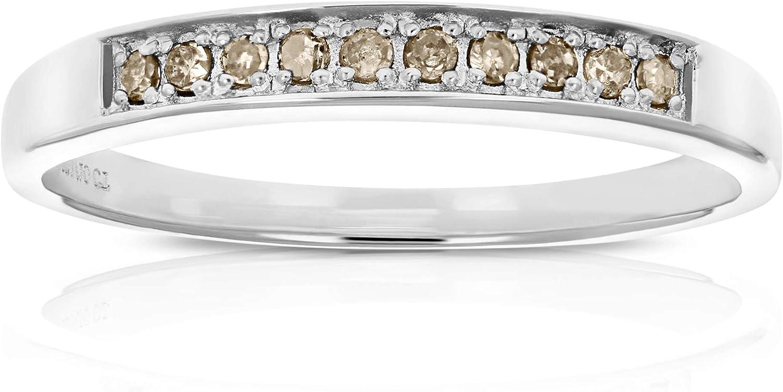 Vir Jewels 1/10 cttw Champagne Diamond Ring Wedding Band .925 St