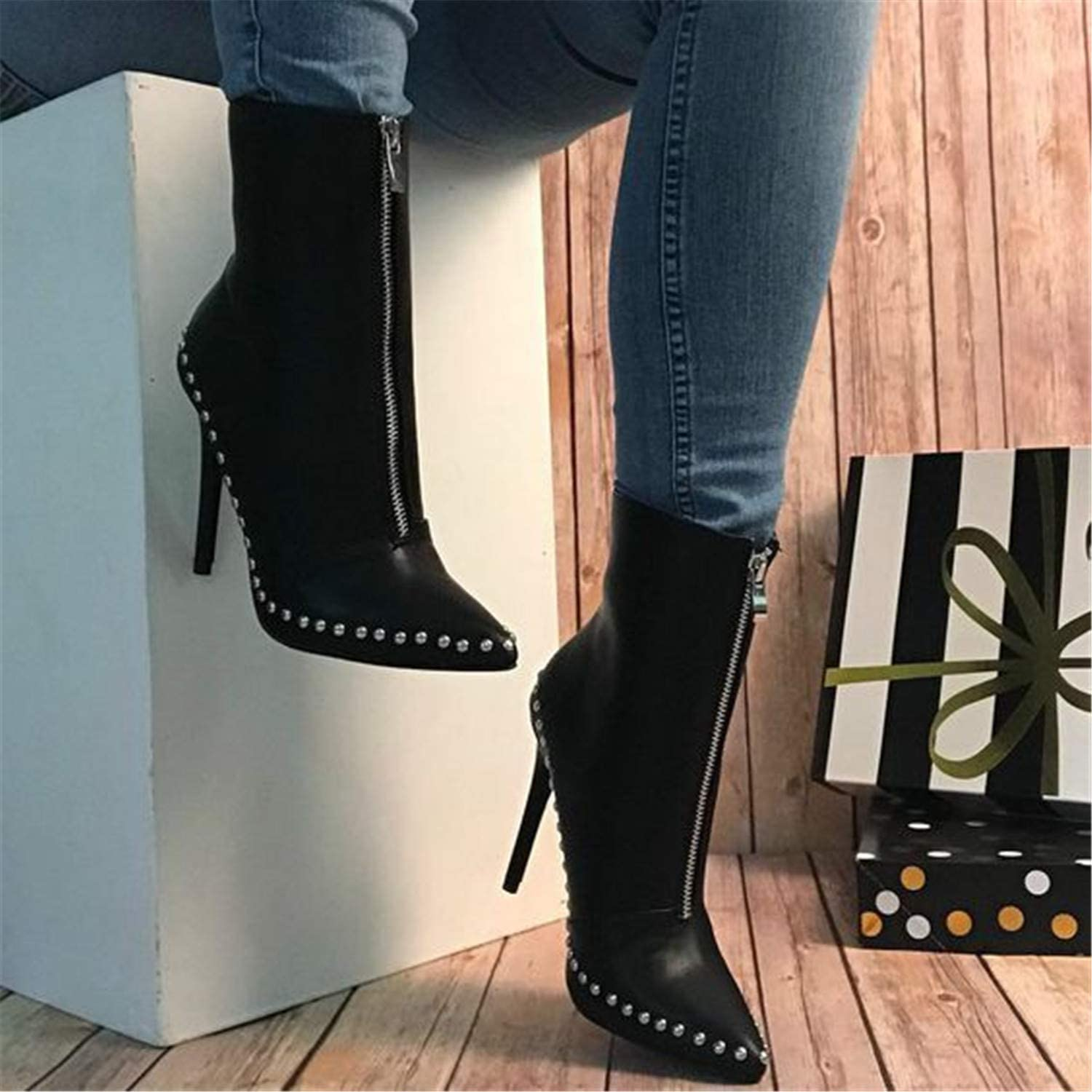 Kongsta Plus Size New Women Knight Boots Rivet Pointed Toe Thin Heels Boots Sexy Ladies Front Zipper Women Ankle Boots