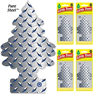 LITTLE TREES Car Air Freshener | Hanging Tree Provides Long Lasting Scent for Auto or Home | Pure Steel, 6-packs (4 count)