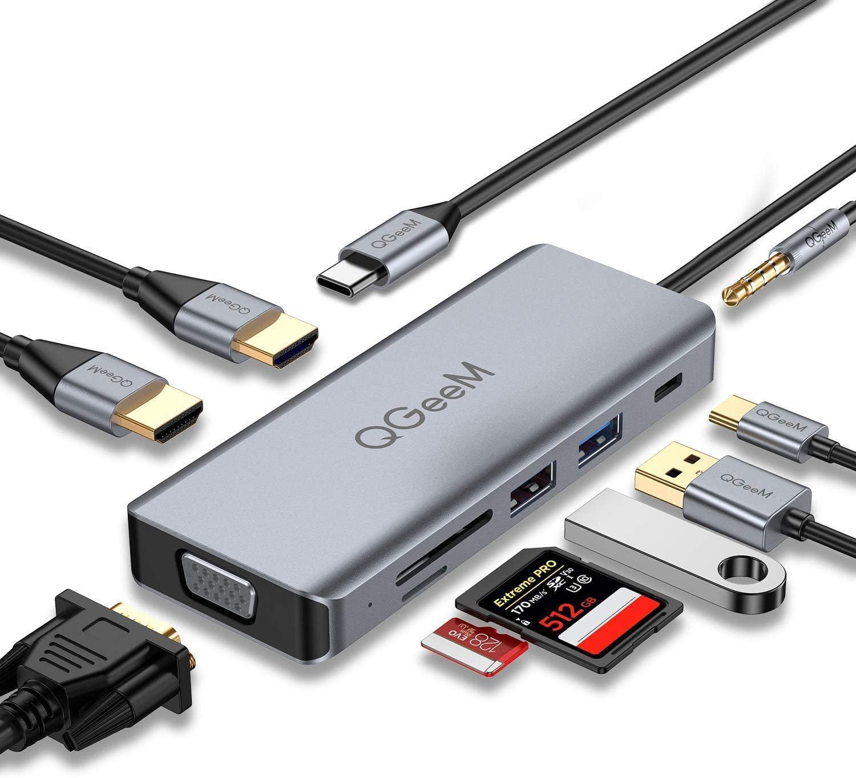 QGeeMHub USB C Docking Station,QGeeM 9-in-1 USB C Hub to Dual 4k HDMI VGA,AUX 3.5mm,USB C to USB,MicroSD Card Reader,Compatible with MacBook,ipad Pro,Dell XPS(Support Triple Display)