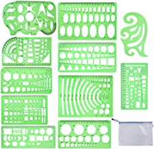 Qincling 11 Pieces Geometric Drawings Templates Stencils Plastic Measuring Template Rulers Clear Green Shape Template for ...