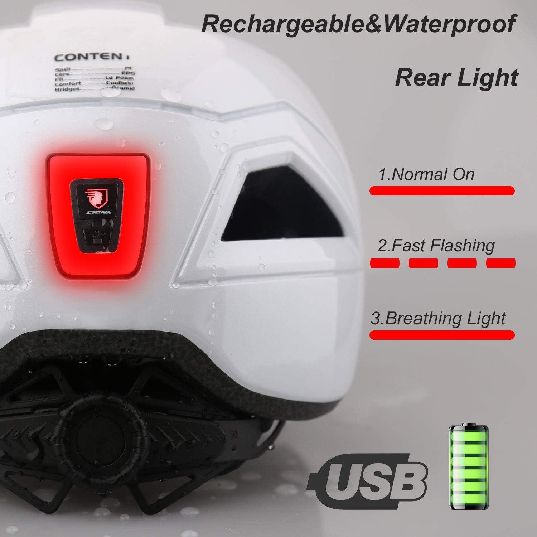 Shinmax Casque de v/élo,avec /éclairage LED,Unisexe de R/églable Casque VTT avec Casque Velo Montagne Casque Ultralight Casque Velo Adulte Casque Trottinette Electrique Adulte 57-62CM