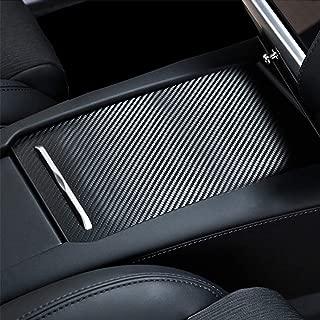 Tesla Center Console Sliding Drawer Wrap Stiker,Car Center Console Armrest Decoration Cover,Carbon Fiber Protective Film Anti-Scratch Sticker for Tesla Model S Model X