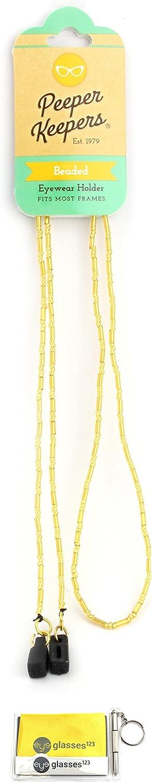 Eyeglass Holder, Sunglass Chain By Peeper Keepers Bugle Beads   w/Microfiber Cloth, Screwdriver