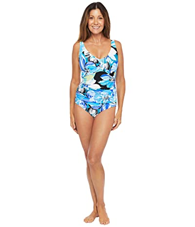 Maxine of Hollywood Swimwear Retro Floral Twist Front Mio One-Piece (Cobalt) Women