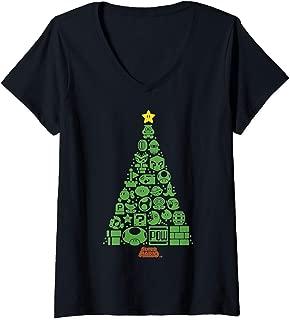 Womens Super Mario Item Characters Christmas Tree V-Neck T-Shirt