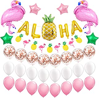 Hawaiian Aloha Party Decoration Pack for Girls Birthday Supplies Aloha Banner Flamingo and Pineapple Helium Foil Balloon Rose Gold Confetti Balloons for Baby Shower Summer Beach Party Decor