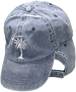 f2c8a4237ebb9 MWS South Carolina SC Palmetto Crescent Moon Blue Washed Embroidered Ball Cap  Hat