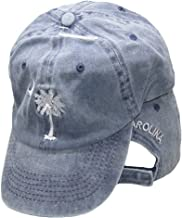 South Carolina SC Palmetto Crescent Moon Blue Washed Embroidered Ball Cap Hat