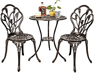 Giantex 3 Piece Bistro Set Cast Tulip Design Antique Outdoor Patio Furniture Weather Resistant Garden Round Table and Chairs w/Umbrella Hole (Tulip Design)