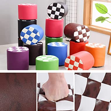 LIXIONG Ottoman, Faux Leather Round Footrest Stool with PU Waterproof Fabric and Anti-Slip Pad Shoes Bench for Bedroom Living